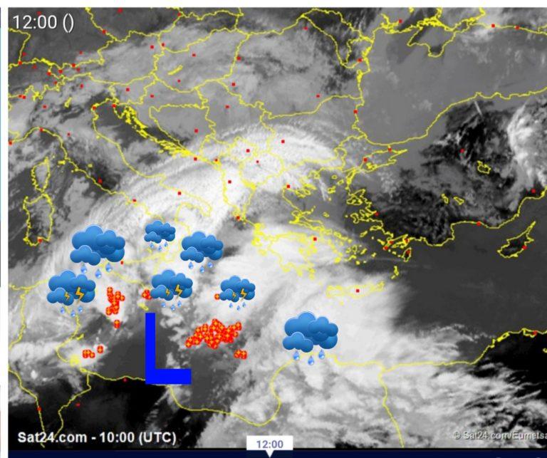Πλησιάζουν οι βροχές από την Μεσόγειο- δορυφορική εικόνα τώρα