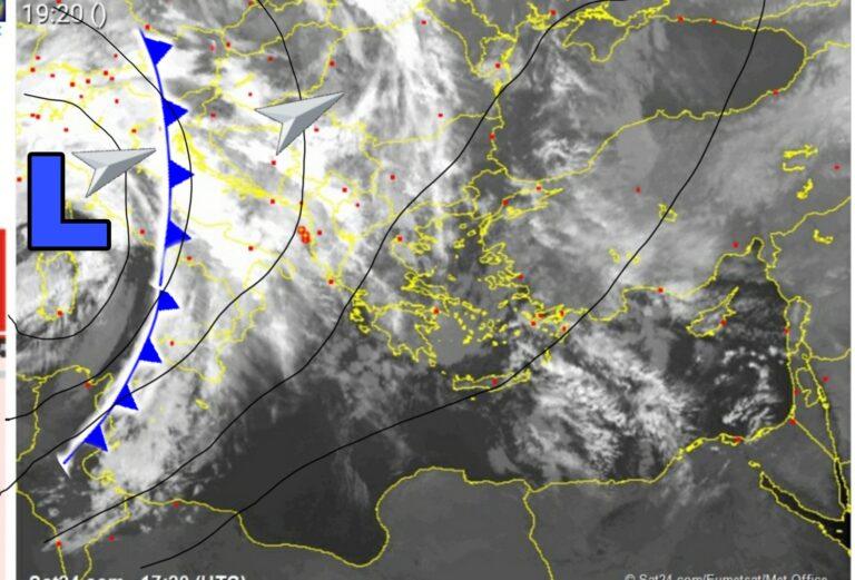 Δορυφορική ανάλυση: Διαδοχικά βαρομετρικά χαμηλά τις επόμενες ημέρες